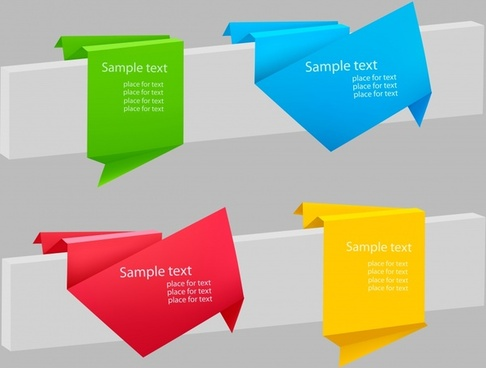 origami ribbon label vector