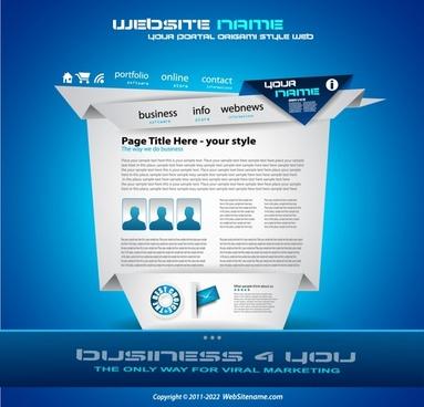 web site template modern 3d origami elegant blue