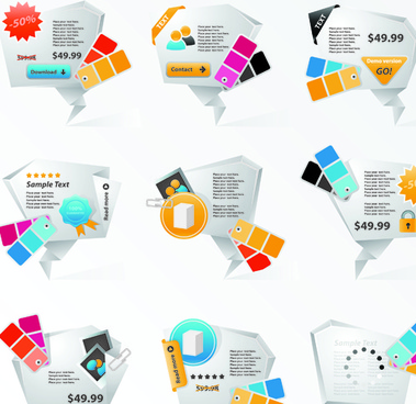 origami website dialog box elements vector