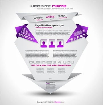 web site design template elegant 3d origami shape