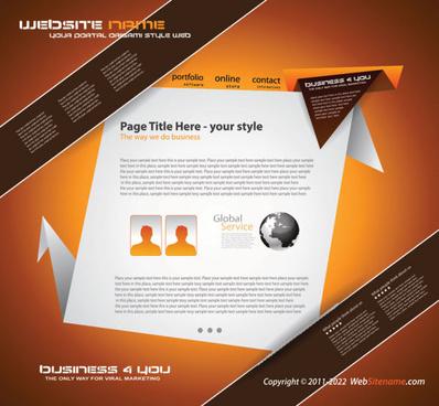 origami website style design vector