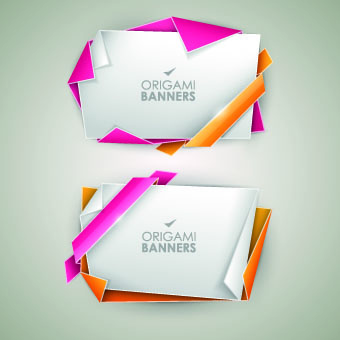 origami with color ribbon banner vector