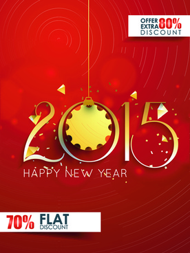 original design15 new year discount flyer cover vector