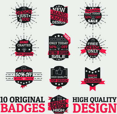 original design badges with labels vector