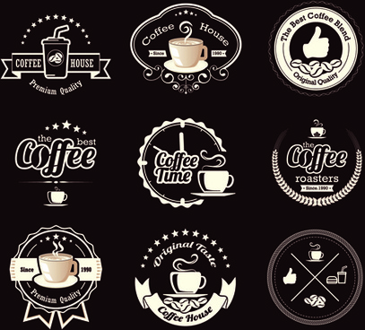original design coffee labels vector