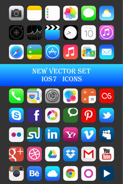 original design ios7 media icons vector