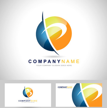 original design logos with business cards vector