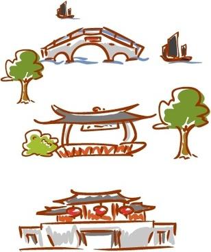 original handdrawn cartoon landscape elements