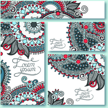 ornament floral pattern cards vector