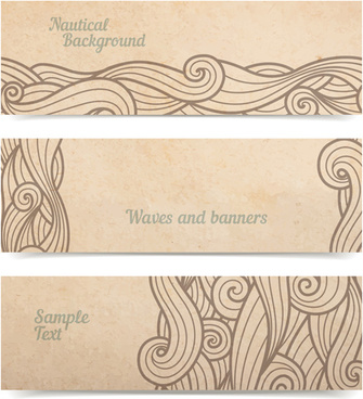 ornament floral retro banners vectors
