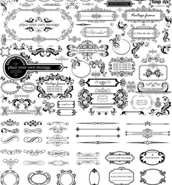 ornament frame with border and calligraphic vector