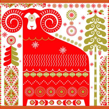 ornament pattern with sheep vector