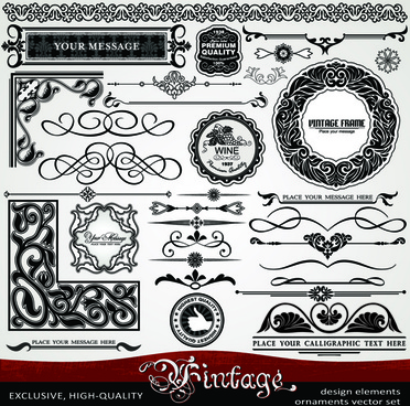 ornament vintage borders elements vector set