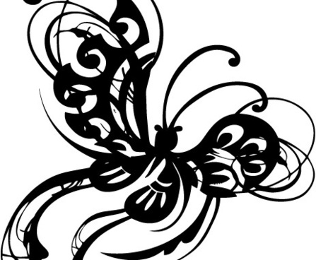 Ornamental Butterfly Abstract Stylized Wings