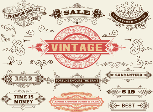 ornamental elements and labels vintage style vector