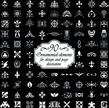 ornamental elements and page decoration vector