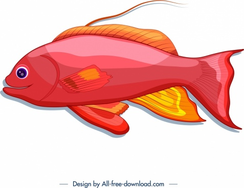 ornamental fish icon bright red design