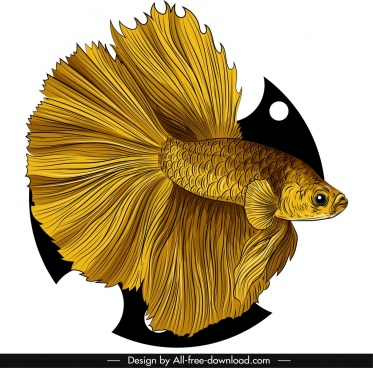 ornamental fish icon elegant golden design
