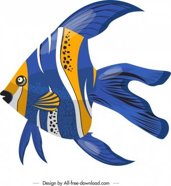 ornamental fish icon shiny bright colorful decor