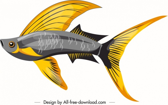 ornamental fish icon shiny colorful sketch