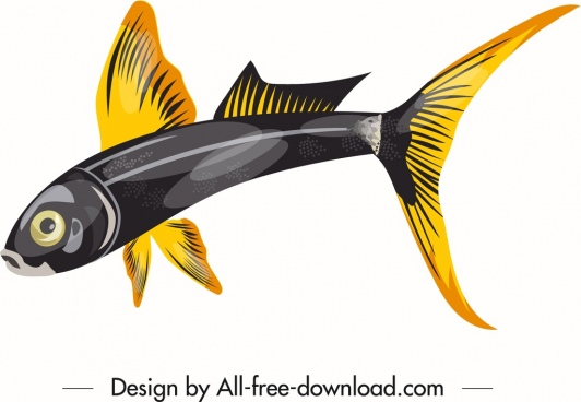 ornamental fish icon shiny yellow black sketch