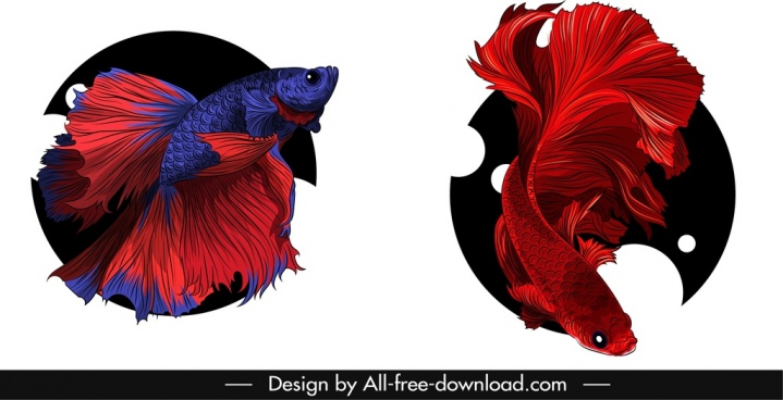ornamental fish icons gaudy 3d sketch