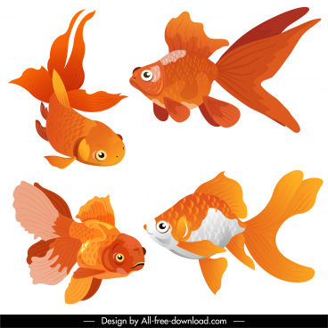 ornamental fish icons yellow decor swimming motion sketch