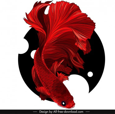 ornamental fish painting red gaudy 3d sketch