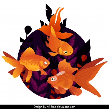 ornamental fish painting swimming goldfish sketch