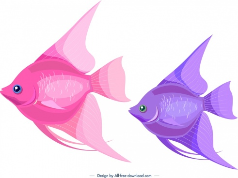 ornamental fishes icons pinkviolet design