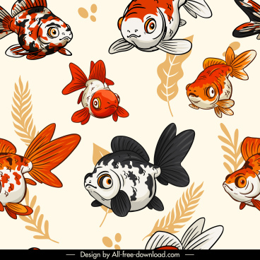 ornamental fishes pattern colorful classic handdrawn