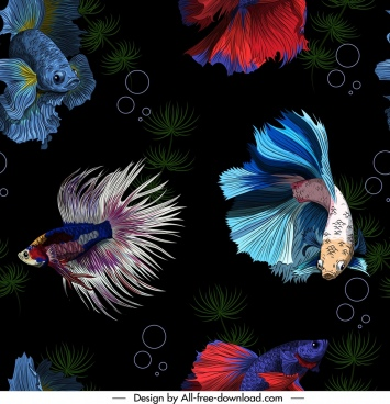 ornamental fishes pattern colorful realistic design