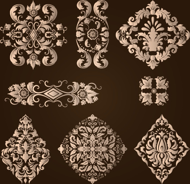 ornamental floral damask elements vector