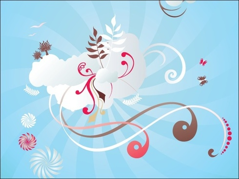 ornamental background design with colorful curves illustration