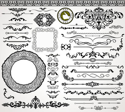 ornaments elements border and frames vecor