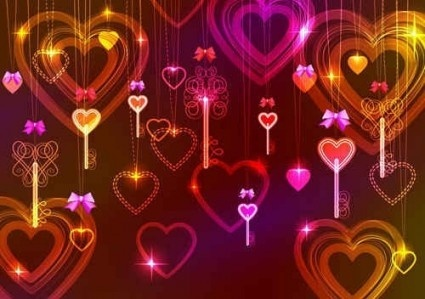 ornaments heart with valentine day illustration vector