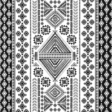 ornaments pattern white with black vector