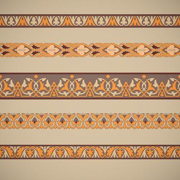 ornaments tiling borders seamless vectors
