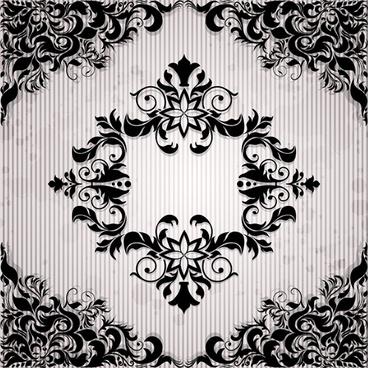 ornate black floral pattern background art