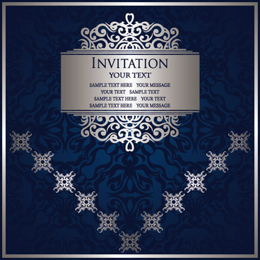 ornate blue background retro vector