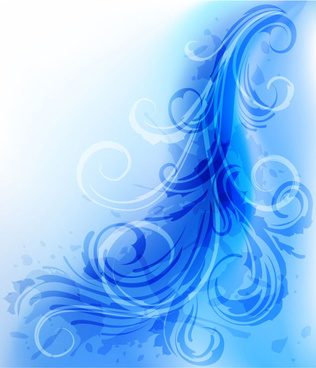 ornate blue floral backgrounds vector