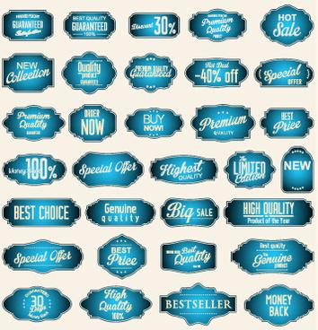 ornate blue sale labels set vector