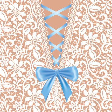 ornate bow with lace background vector