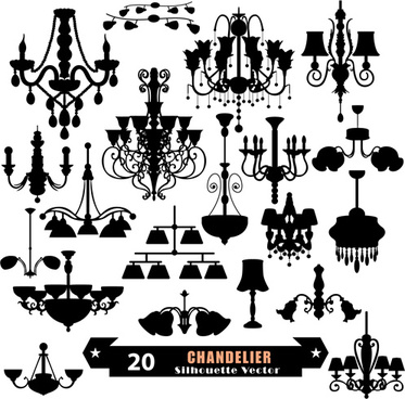 ornate chandelier vector silhouette set