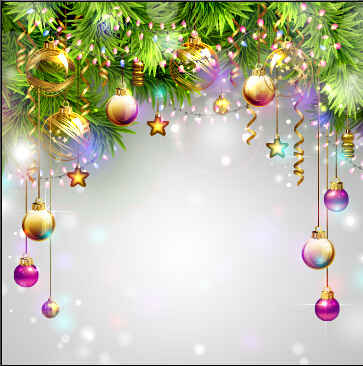 ornate christmas ball and baubles vector background