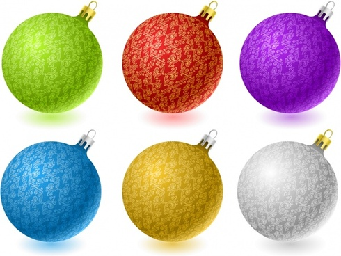 christmas bauble balls icons shiny colorful realistic design