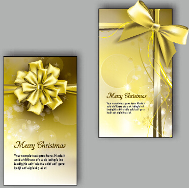 ornate christmas bow greeting cards vector