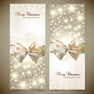 ornate christmas cards with bow vector