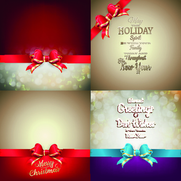 ornate christmas cards with ribbon bow vector set