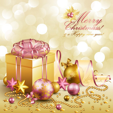 ornate christmas pendant gift cards vector